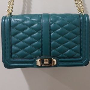 Rebecca Minkoff Quilted Love Crossbody Green&Gold